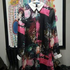 NWOT Asos Graphic Floral Satin Collared Mini Dress